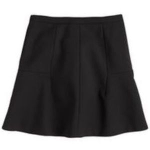 J. Crew Black Solid Double Crepe Fluted Skirt